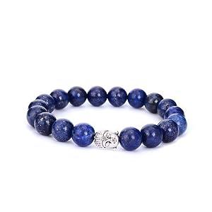 Sedmart Mens Bracelet Turquoise lapis lazuli Tiger Eye Buddha Bead Gemstone Jewelry Fathers Day Gift