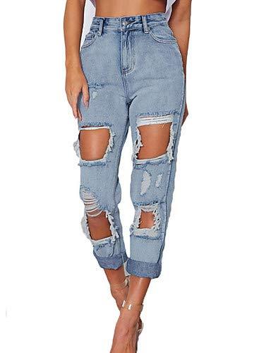 YFLTZ Couleur Street pour Jeans Pantalon Blue Femme Light Unie Chic qrq1ZTC