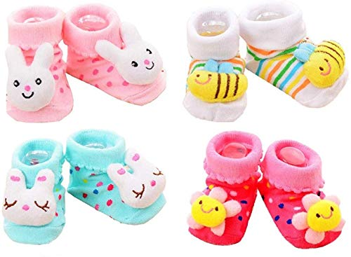 BabyGo Baby Girls' Assorted Bootie -Small (Set of 4 Pairs)