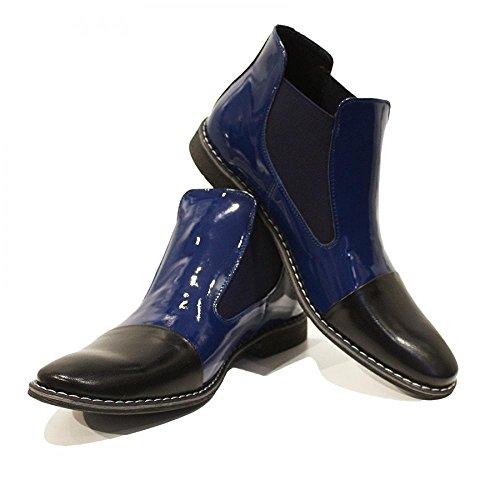 PeppeShoes Modello Zaffiro - Handmade Italiano da Uomo in Pelle Blu Navy Stivali di Chelsea - Vacchetta Pelle di Brevetto - Scivolare su