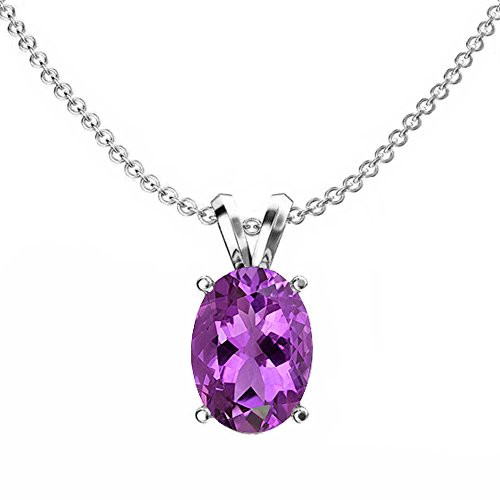 Dazzlingrock Collection 14K 9x7 mm Oval Cut Amethyst Ladies Solitaire Pendant (Silver Chain Included), White Gold ()