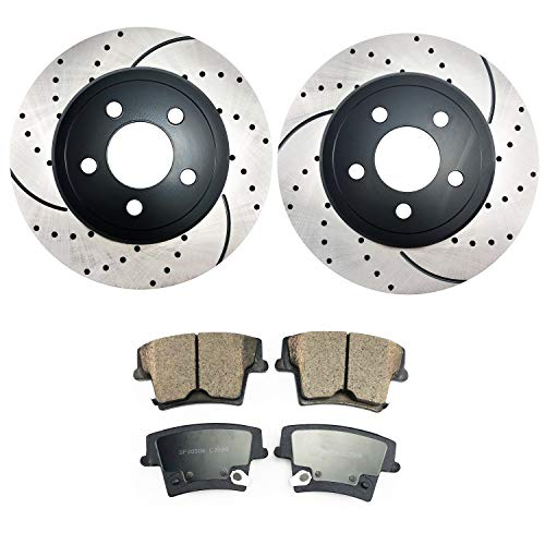 2011 Charger Awd - Atmansta QPD10037 Rear Brake kit with Drilled/Slotted Rotors and Ceramic Brake pads for 2005-2018 Chrysler 300 5.7L V8 or AWD V6|2006-2018 Dodge Charger|2009-2018 Dodge Challenger|2006-2008 Magnum