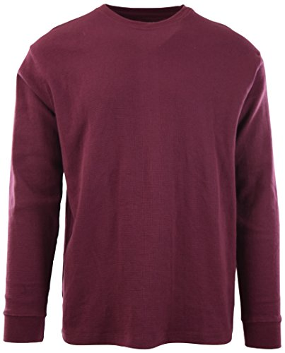 ChoiceApparel Mens Long Sleeve Thermal Waffle Pattern Crew Neck Shirts (L, 1802-Burgundy)