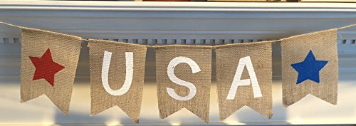 Memorial Day Bulletin Boards (USA Burlap Patriotic Banner Bunting - 4th of July Party Decoration - Memorial Day Burlap Celebration Supplies - Honor Military Veterans Day Garland - by Jolly Jon)