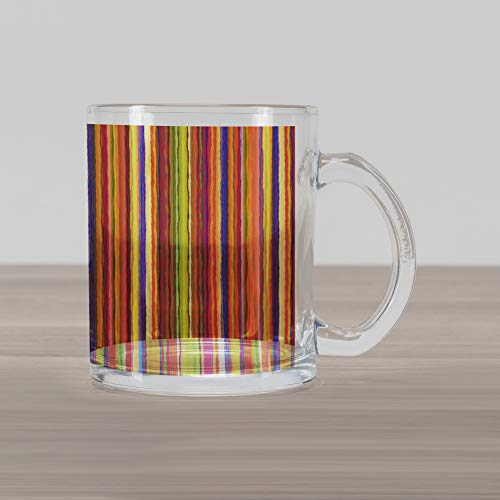 Ambesonne Stripes Glass Mug, Hand Drawn Barcode Style Lines Rainbow Colored Abstract Geometric Illustration, Printed Clear Glass Coffee Mug Cup for Beverages Water Tea Drinks, Multicolor