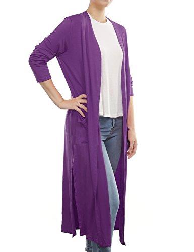 BH B.I.L.Y USA Women's Side Split Front Pockets Open Front Long Cardigan Purple Small