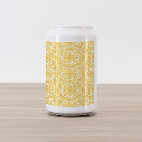 Lunarable Yellow Mandala Cola Can Shape Piggy Bank, Oriental Doily Motifs Featured with Asian Traditional Elements Curves, Ceramic Cola Shaped Coin Box Money Bank for Cash Saving, Yellow and White