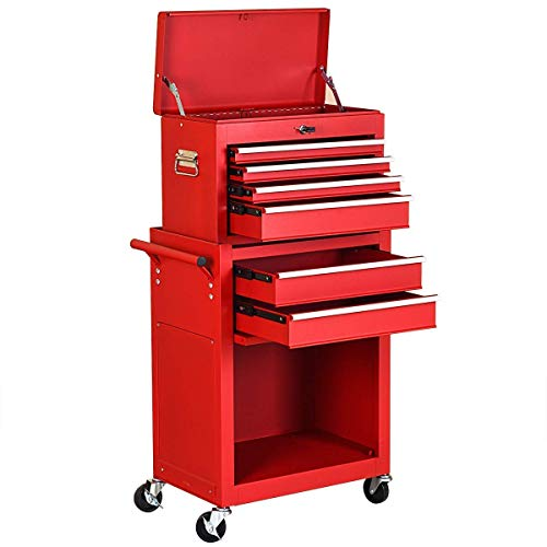 (Goplus 6-Drawer Rolling Tool Chest Removable Tool Storage Cabinet with Sliding Drawers, Keyed Locking System Toolbox Organizer (Red))