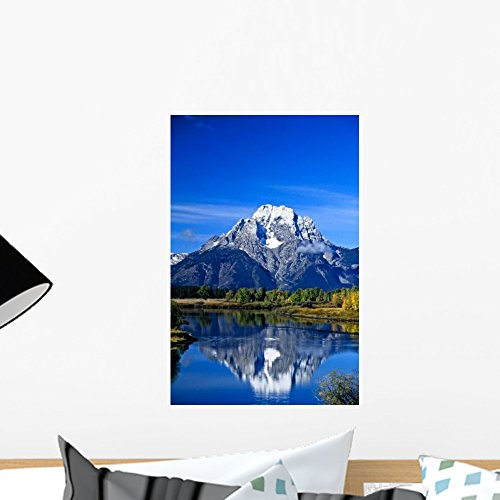 Jackson Lake Grand Teton Wall Mural by Wallmonkeys Peel and Stick Graphic (18 in H x 12 in W) WM142151