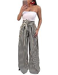 XinnioWomen Casual Fashion Casual High Waist Waistbelt Striped Wide Leg Pants Elastic Long Palazzo Pants for Girl