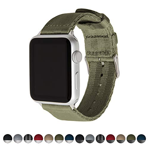 Archer Watch Straps Seat Belt Nylon Watch Bands for Apple Watch (Olive, Stainless, 42mm)
