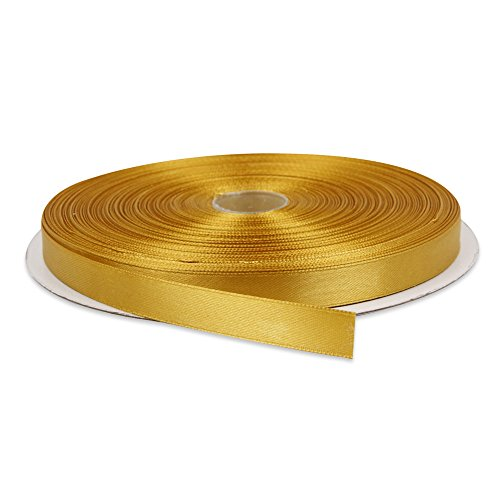 Topenca Supplies 1/2 Inches x 50 Yards Double Face Solid Satin Ribbon Roll, Gold