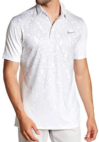 Nike Men's Mobility Polk Golf Polo White Grey 880215-100 -