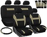 OxGord Car Seat Cover - Beige Tan Black fits Car, Truck, Van, SUV - Full Set