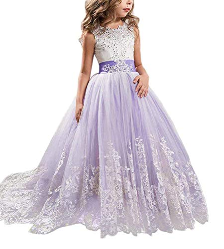 NNJXD Girls Princess Lilac Pageant Long Dress Kids Tulle Prom Ball Gowns Size (140) 8-9 Years Purple