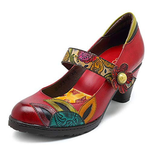 Décolleté Pelle In Caviglia Scarpe Heel Stampate Vintage Strap Red Blocco Donna Jane Mary Seraph Mid 1qEpp