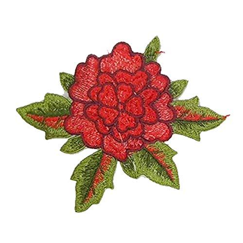Vi.yo ワッペンアップリケ 刺繍 おしゃれなフラワー モチーフ パッチ 衣類アクセサリー 手作り 手芸 レッドの商品画像
