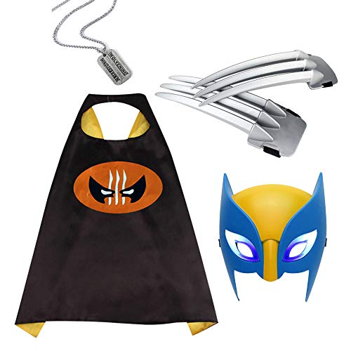 Wolverine Dress Up,X-Men Wolverine Comics Cartoon Cape & Luminous Mask& Wolverine Necklace&Wolverine Claws,Costumes for Kids Party Black