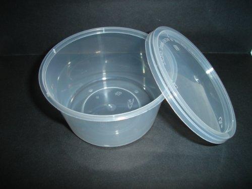 250x 454ml rund Mikrowelle Behälter & Deckel (12x 6cm) (Free P & P auf alle Produkte)