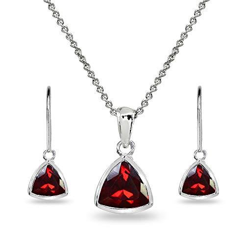 Sterling Silver Created Ruby Trillion Bezel-Set Pendant Necklace & Dangle Earrings Set for Women, Teen Girls ()