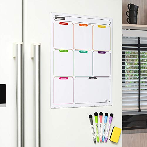 (Thickened Magnetic Dry Erase Calendar for Fridge - Stain Resistant - Weekly White Board Planner - Meal Planner - with Fine Tip Marks & Eraser (Multicolored - Weekly Planner))
