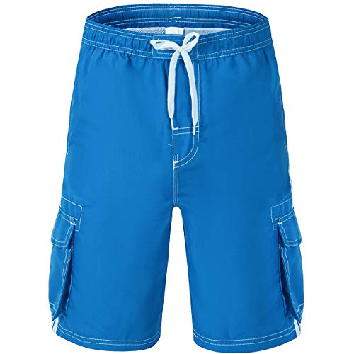 Akula Big Boys Swim Shorts Quick Dry Solid Swim Trunks with Mesh Lining Youth Boy Bathing Suit Beach Surf Shorts Blue Size XL (18/20) (Boys Microfiber Cargo Pants)