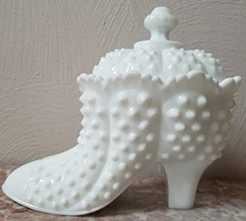 Fenton Milk Glass Hobnail Covered Shoe Candy Box Dish - Original