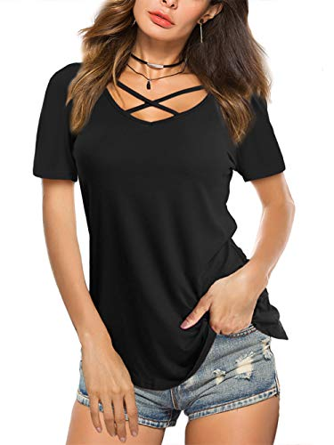 Amoretu Women Summer Tops Criss Cross Short Sleeve V Neck T Shirts(Black,XL)