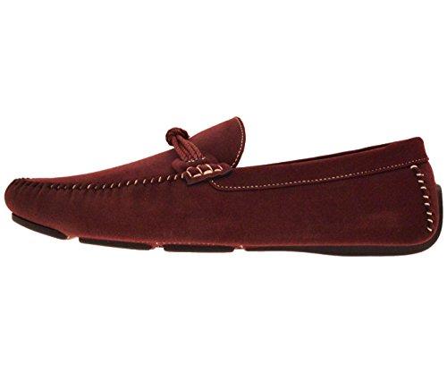 Amali Heren Pluche Microvezel Suède Loafer Drijvende Schoen Met Gesp Stijl Norwalk, Walken, Knopers Bordeaux / Geknoopte-strap