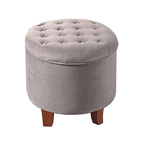 HomePop K6171-B214 Velvet Button Tufted Round Storage Ottoman with Removable Lid - Tufted Ottoman Round Grey