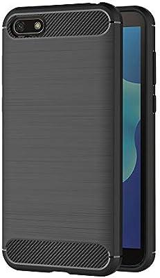 AICEK Funda Huawei Y5 2018, Negro Silicona Fundas para Huawei Y5 2018 Carcasa Huawei Y5 2018 Fibra de Carbono Funda Case (5,45 Pulgadas)