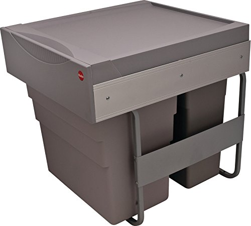 Waste Bin Pull-Out by Hafele, Hailo Easy Cargo 50, Double Trash Can Easy Cargo, Bottom mounted, Weight capacity 88 lbs, Plastic, gray, 30liters and 19liters. Easy installation.