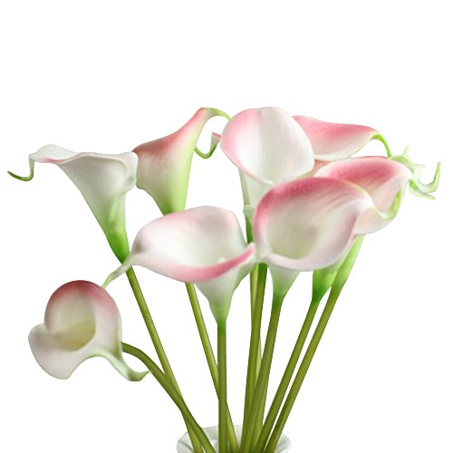 Kaimao 10 Pcs Artificial Calla Lily Flower Real Touch Bridal Wedding Flowers Bouquet for Home Room or Birthday Garden Decoration - Pink (Pink Long Stem Vases)