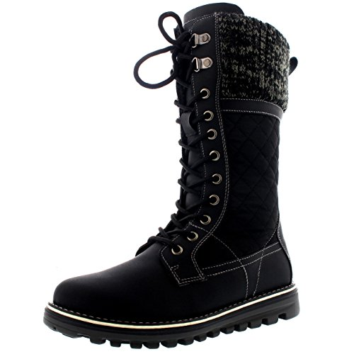 Polar Womens Winter Thermal Snow Outdoor Warm Mid Calf Waterproof Durable Boot - Black - US5/EU36 - YC0376 (Snow Winter Boots Lace)