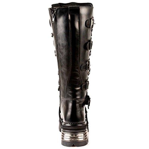 New Rock Unisex Black Metallic Gothic Biker Boots - M272 Black 3I3NzkO