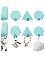 Besylo Geometrisk väggkrok, 8 st premium självhäftande krokar i rostfritt stål, självhäftande krokar, väggkrokar, handdukskrokar, rockkrokar, vattentät utan borrning, för tak badrum kök (blå)