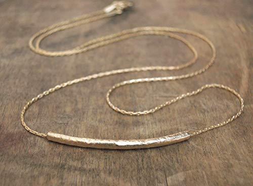 Handmade Designer Dainty Gold Filled Hammered Tube Necklace
