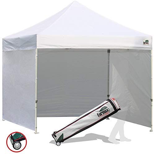 Eurmax 8x8 Feet Ez Pop up Canopy Tent, Pop-up Instant Tent, Outdoor Canopies Commercial Gazebo with Sidewalls Bonus Roller Bag (White)