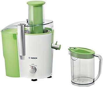 Bosch MES25G0 Entsafter VitaJuice 2 700 W, XL Einfüllschacht, Edelstahl Microfilter Sieb, Ausgießer mit DripStop, weiß apfelgrün