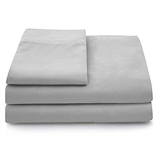 - Cosy House Collection Luxury Bamboo Bed Sheet Set - Hypoallergenic Bedding Blend from Natural Bamboo Fiber - Resists Wrinkles - 4 Piece - 1 Fitted Sheet, 1 Flat, 2 Pillowcases - Queen, Silver