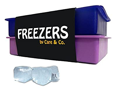 "Perfect Size Silicone Ice Cube Tray, Set of 2, ""FREEZERS"",No Odor or Aftertaste!"