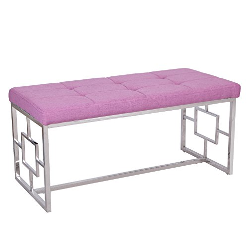 Adeco Stainless Steel Bench Entryway Footstool Seat Upholstered in Button, Tufted Linen Fabric - Purple, Purple - Steel Upholstered Bench