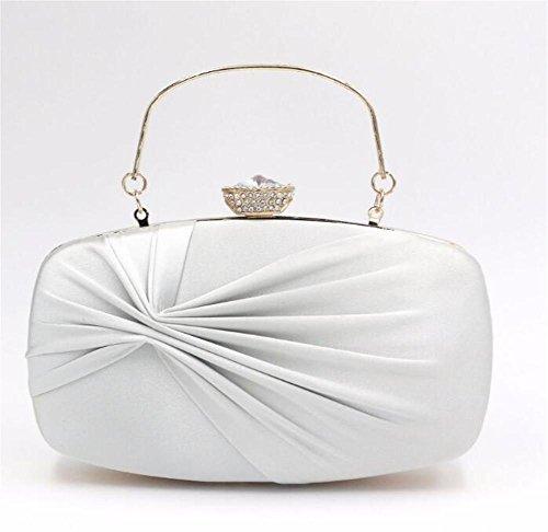 De Bowknot Robe Mariage Soirée Femme Ruchée Faux Handbag Pochette white WBAG Sacs Silk Rectangulaire Wq6Xnznf