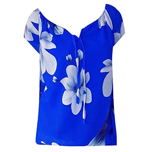 ⚡HebeTop⚡ Women's Floral Print One-Shoulder V-Neck Lace Short-Sleeve Loose Top - Floral Style Designer Upholstery