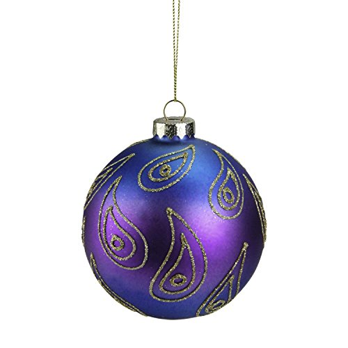 Peacock Christmas (Northlight Regal Peacock Green Purple and Gold Glittered Glass Ball Christmas Ornament, 4