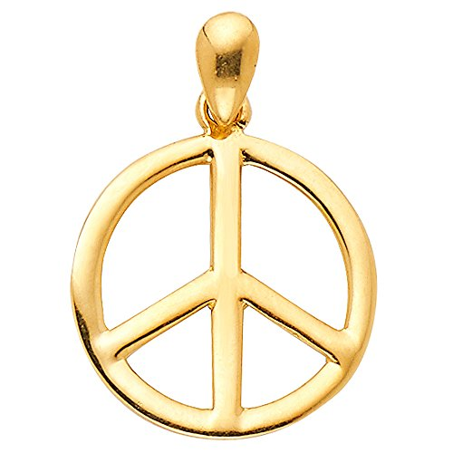 14k Yellow Gold Peace Sign CZ Charm Pendant