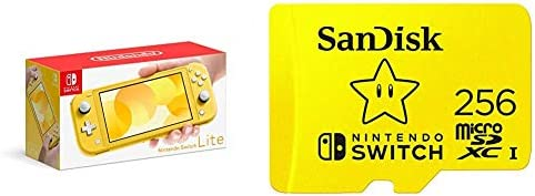 Nintendo Switch Lite - Yellow with SanDisk 256GB MicroSDXC UHS-I Card for Nintendo Switch