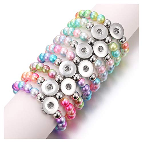 Bracelet Beaded Button - Lovglisten 6pcs Bracelet Colorful Imitation Pearls Bead Snap Bracelet Fit DIY 18mm Snap Button Jewelry Summer Beaded Bracelet(CSZZSZ-6pcs)