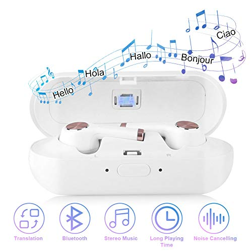 Translator Earbuds with Gift Charging Box,2 in 1 Bluetooth Headphone/ Real Time Wireless Language Translator Earphone Device Voice Translation Support 19 Languages Dual Mic & Noise Reduction(White)