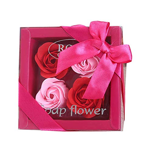 Artificial Dried Flowers - 4pcs Box Simulation Rose Soap Flower With Ribbon Wedding Souvenir Valentines Day Gift Birthday - Boxes Mom39;pillows Decor Happy Vine Party Flower Mannequin Kind